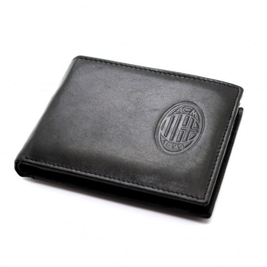 Portafoglio AC Milan in Vera Pelle uomo  con portamonete porta carte e ribaltina Mod.: 141290 Portafogli