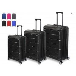 Tris Set 3 Trolley  In ABS 8 Ruote Con Lucchetto TSA