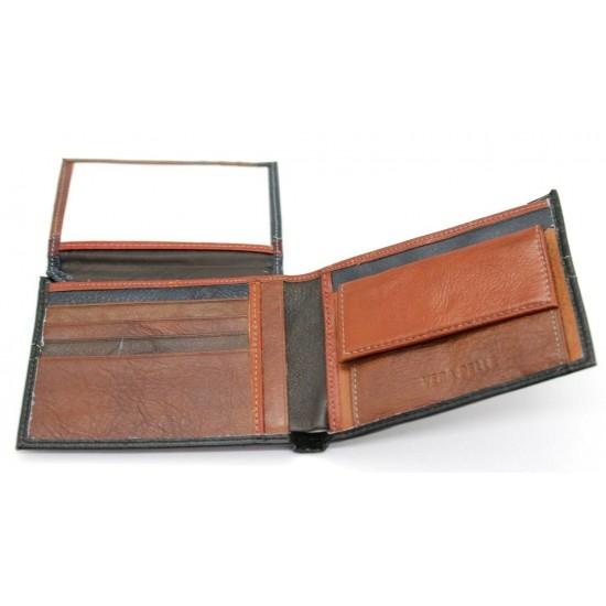 Portafoglio uomo in vera pelle con portamonete porta carte e ribaltina Mod.: L-3 Portafogli