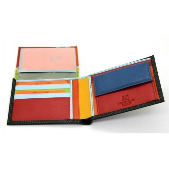 Portafoglio uomo ENRICO COVERI in pelle con portamonete porta carte e ribaltina Mod.: 826 Portafogli