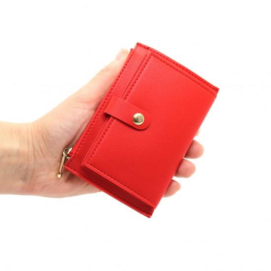 Portafoglio donna sottile piccolo in ecopelle con portamonete cerniera