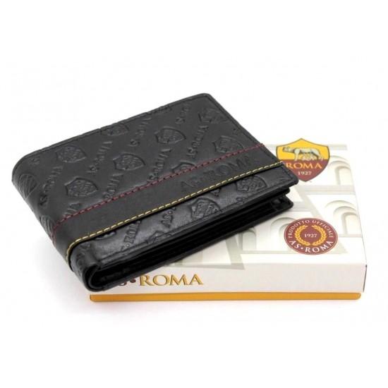 Portafoglio AS ROMA in Vera Pelle uomo con portamonete porta carte e ribaltina Portafogli
