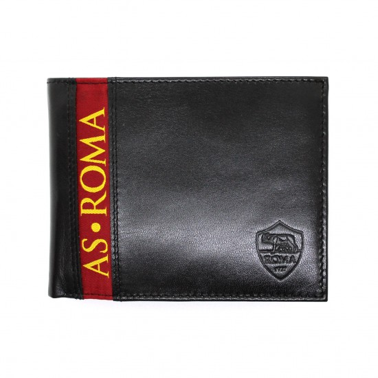 Portafoglio AS ROMA in Vera Pelle uomo con portamonete porta carte e ribaltina Mod.: 161301