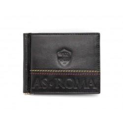 Portafoglio slim AS ROMA in vera pelle con clip ferma banconote porta carte