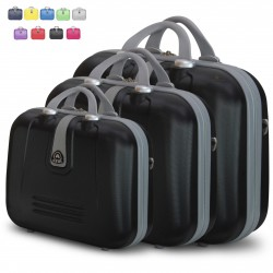 Set 3 Beauty Case Con Tracolla Rigido in ABS Ultraleggere Bagaglio a Mano 188