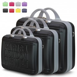 Set 3 Beauty Case Con Tracolla Rigido in ABS Ultraleggere Bagaglio a Mano 1128