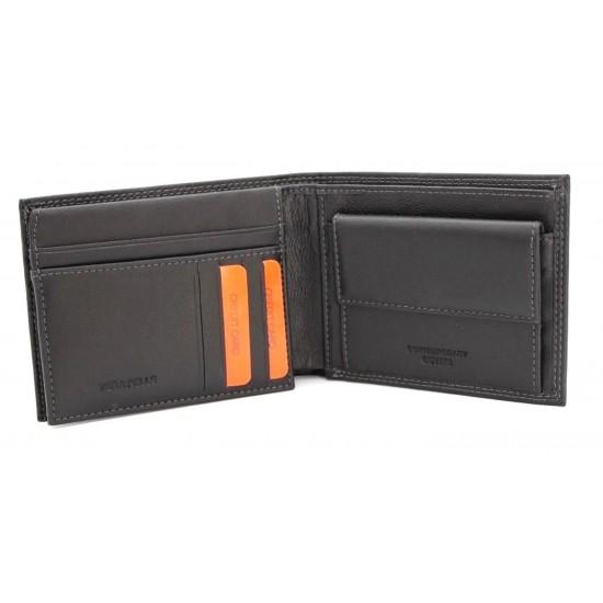 Portafoglio uomo ENRICO COVERI in pelle con portamonete porta carte e ribaltina  Portafogli