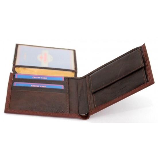 Portafoglio in pelle uomo porta carte e ribaltina CHARRO morbido con portamonete Portafogli