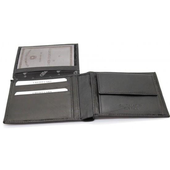 Portafoglio in pelle uomo CHARRO con portamonete porta carte e ribaltina morbido Portafogli