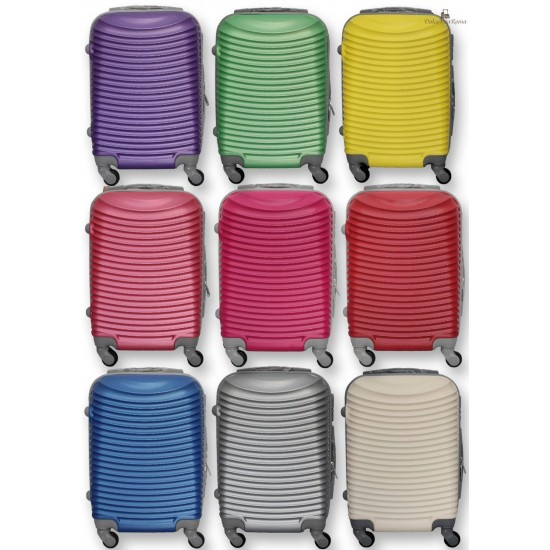 TROLLEY VALIGIA 52x35x20 BAGAGLIO A MANO in ABS CABINA RYANAIR EASY JET 4 RUOTE