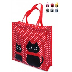 Shopper Borsa Donna In Plastica Busta Spesa Casual Universale Gattini